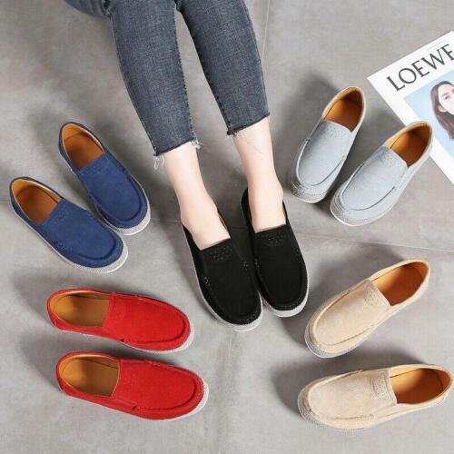 Daim Cuir Femme Confort Respirant Marche Casual Femmes Chaussures Escarpins Chaussures