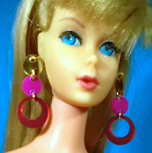 Dreamz-PAJAMA-POW-EARRINGS-MOD-60-039-s-Doll-Jewelry-VINTAGE-REPRO-made-for-Barbie