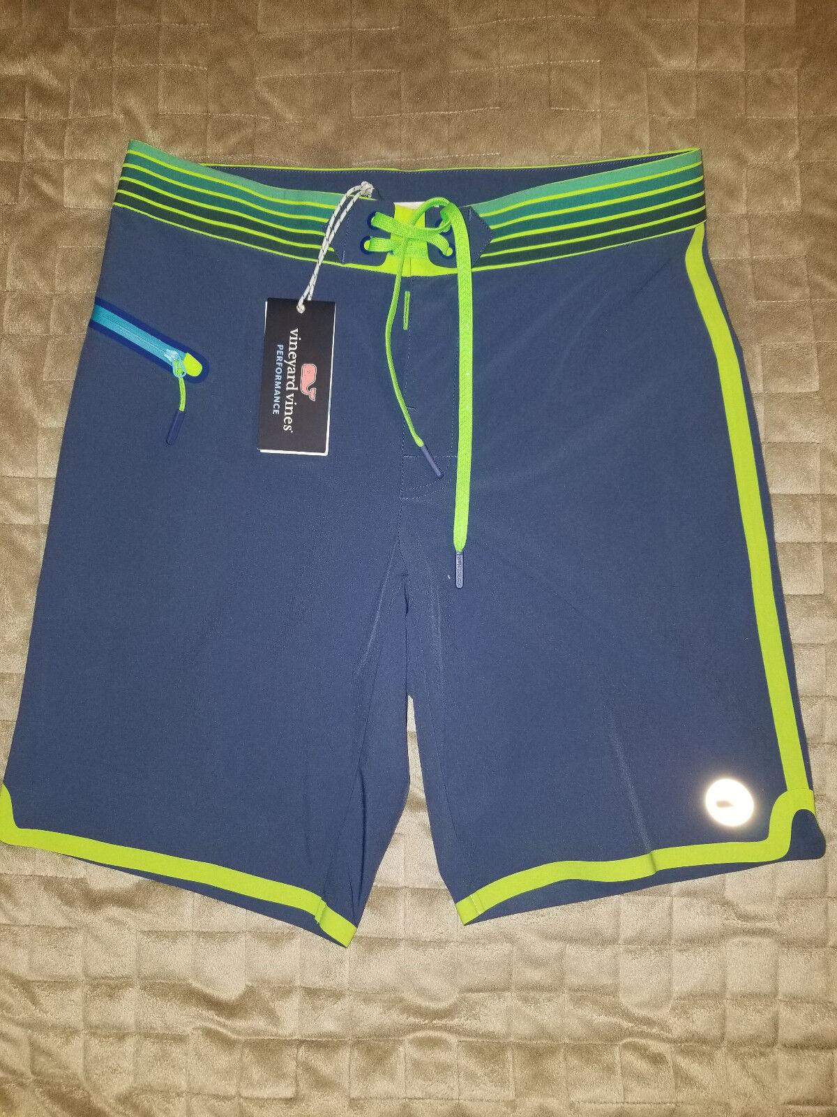 New VINEYARD VINES men swimwear shorts performance bluee neon 28 MSRP
