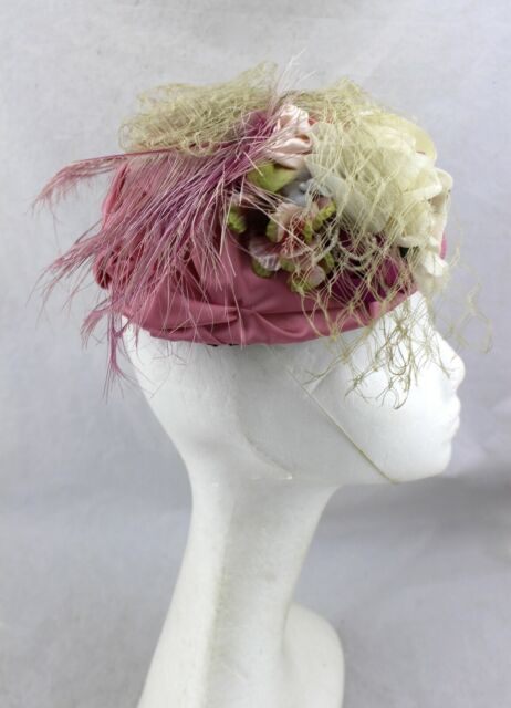 VINTAGE Pink Floral Flower Feather Mesh Netting Garden Skull Saucer Cap Hat