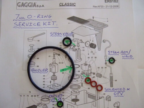 1st P /& P 2x GAGGIA CLASSIC BABY EVO 7x o-ring Kit di riparazione in assistenza EPDM CALDAIA