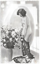 Real Photo Postcard Risque Nude Lace Draped Woman in a Photo Studio~105303