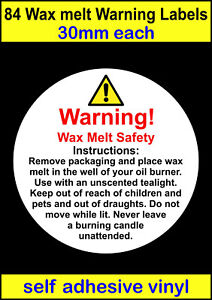 Law Requirements Stickers Small /& Medium Wax Melt Safety Warning Labels