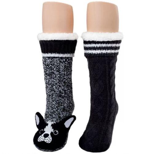 4-10 CUDDL DUDS WOMEN/'S SHERPA LINED CRITTER SLIPPER SOCKS SET OF 2  ONE SIZE