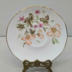 Duchess-Fine-Bone-China-White-Orphan-Saucer-with-Orange-amp-White-amp-Pink-Flowers