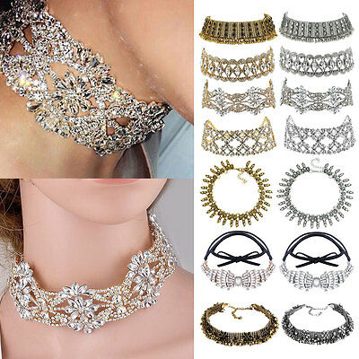 Crystal Choker Fashion Chunky Jewelry Statement Women Chain Pendant Bib Necklace