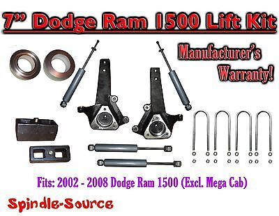 """2002 - 2008 Dodge Ram 1500 2WD 7"""" Front 3"""" Rear Spindle Lift Kit WITH SHOCKS"""