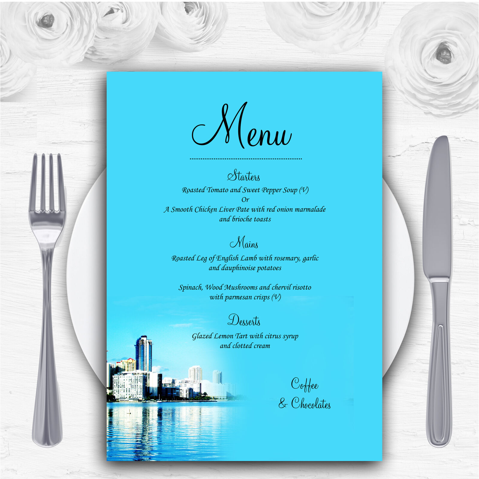 Miami Florida Personalised Wedding Menu Cards