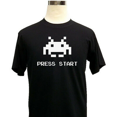 Space Invaders Press Start Retro Gaming Mens Gamer T-Shirt