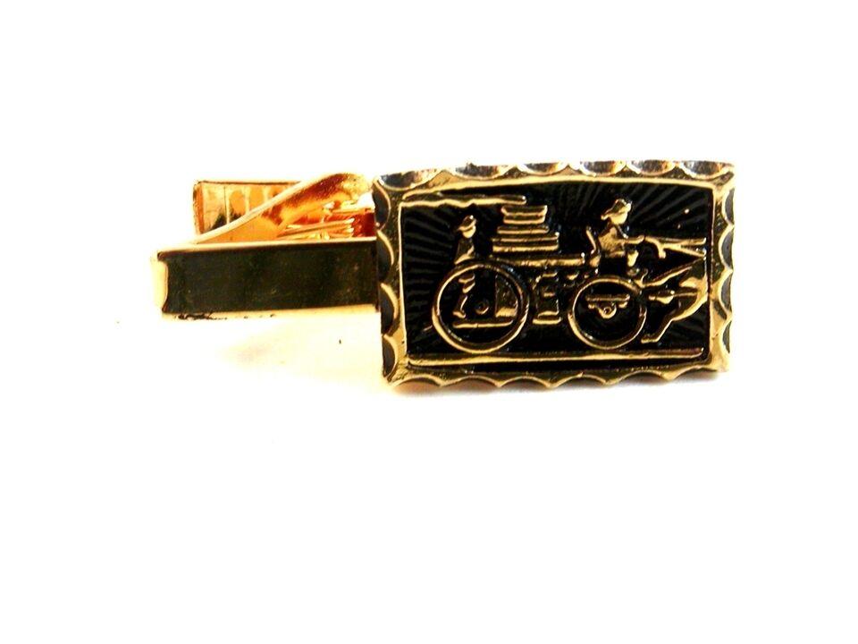 Vintage Tono oro & Nero Antico Fuoco Carro Cravatta Gancetto Gancetto Gancetto afdc46