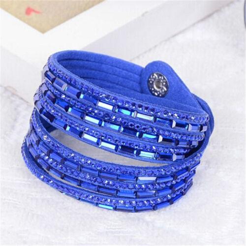 Pulsera de cristales de ante de imitación de cuero aplacar Varios Colores Rosa Cerceta Azul Gris