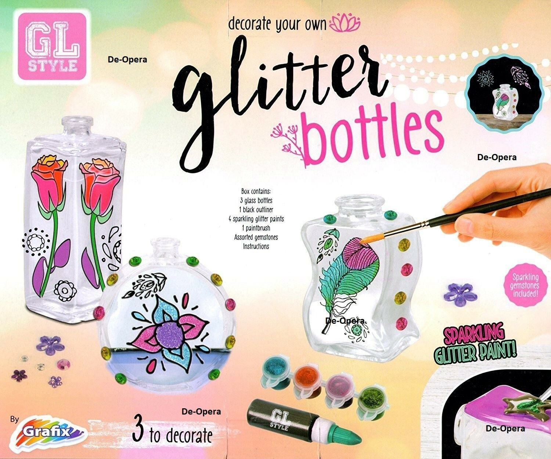 New Decorate Your Own Glitter Glass Bottles Paint Paint DIY Art Craft Set