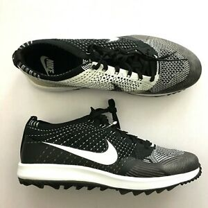 cheap for discount 1fa3b 194ad Image is loading Nike-Flyknit-Racer-G-Golf-Shoes-Black-White-