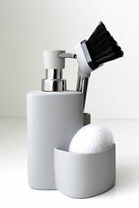 Ceramic Kitchen Soap Dispenser Sponge Scrubby Dish Brush Caddy ...