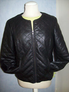 nouveau style 332e7 1a51a Détails sur veste simili cuir intérieur fourrure noire belle qualité T4 38  40 42 cache cache