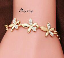 #3056 Gold Plated Link Chain Austrian Crystal Flower Design Bracelets