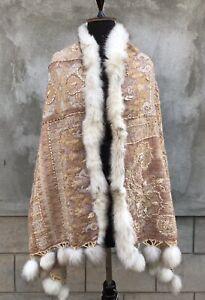 Kashmir Boiled Wool Shawl With Fur, Pom-Pom Scarvex