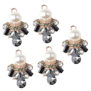 5x Crystal Buttons Flatback Pearl Embellishment Sewing Craft DIY Phone Decor