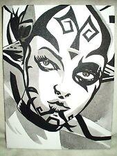Canvas Painting Star Wars Darth Talon Face B&W Art 16x12 inch Acrylic