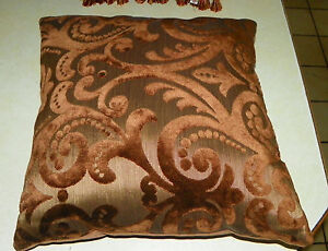 Image Is Loading Brown Gold Cut Velvet Throw Pillow Decorative