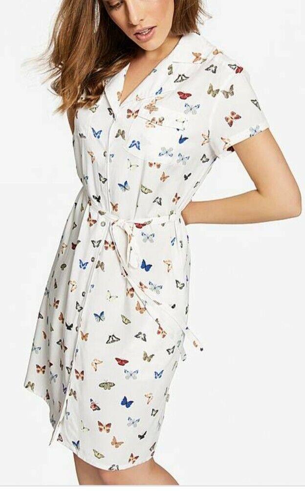 CL17KHUJO ANblackSE LADIEA BUTTERFLY PATTERN SHIRT DRESS SIZE SMALL
