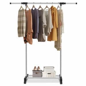 Rolling Garment Rack Closet Organizer Shelf Clothes Hanger Adjustable Portable