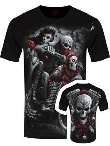 Spiral-T-shirt-Day-Of-The-Dead-Bikers-Men-039-s-Black