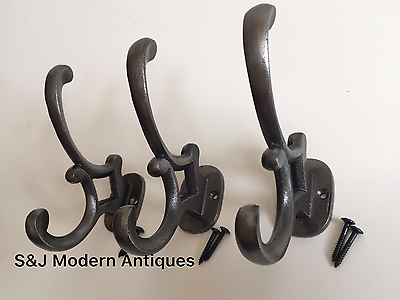 5 x CAST IRON IRON COAT WALL HOOKS VICTORIAN ANTIQUE VINTAGE OLD STYLE CH03x5