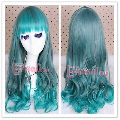 55cm long mixed fade green ombre Harajuku wave curly cospaly party hair wig ZY37