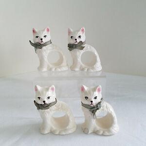 Set-4-Vintage-1983-Porcelain-White-Persian-Cat-Napkin-Holders-Original-Ribbons