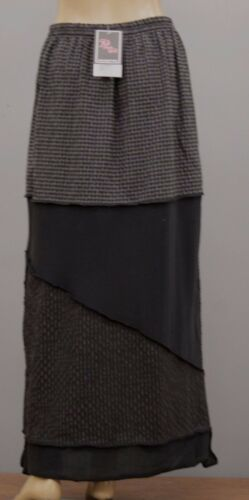 PRISA COTTON KNIT STITCH PATCHED CRINKLED CHECK STRIPED SKIRT BLK GRY 0 14 $300