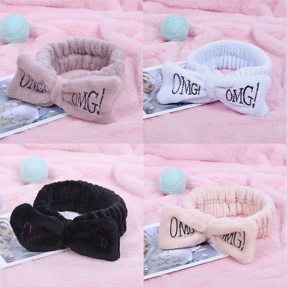 FA- KF_ Women Letter Embroidery Bowknot Plush Headband Elastic Hair Band Rapture Clothing, Shoes & Accessories