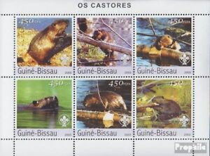 Stamps Never Hinged 2003 Beavers Guinea-bissau Guinea-bissau 2470-2475 Sheetlet Unmounted Mint