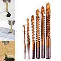 TOOLS 6PCS HSS High Speed Steel Titanium Coated Drill Bit Set 3/4/5/6/6.5/8mm