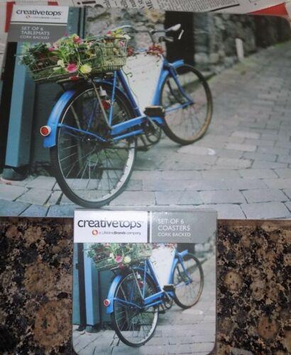 Lot de 6 Creative Tops Sets de Table /& Sous-verre bleu vintage vélo 5164384 NEUF