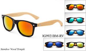 Mens Womens Retro Vintage Summer Glasses Bamboo Sunglasses Wooden Wood AL Radsport
