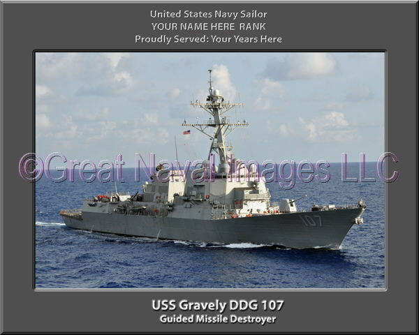 USS Gravely DDG 107 Personalized Canvas Ship Photo Print Navy Veteran Gift