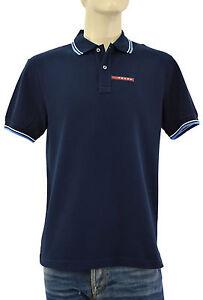 250-PRADA-bleu-marine-Piquet-Homme-100-Coton-Polo-Shirt-Taille-nouvelle-collection