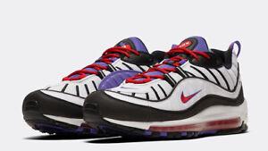 Détails sur Homme Nike Air Max 98 Baskets Blanc Violet Noir Rouge 640744 110 UK 8 afficher le titre d'origine