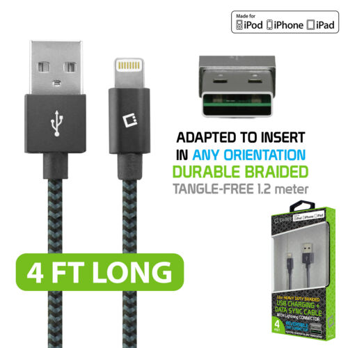 Cellet 4ft HD Braided Apple MFI Certified Lightning to Reversible USB Data Cable