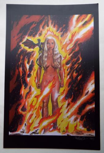 ECCC 2017 GAME OF THRONES Daenerys Targaryen Lithograph SIGNED DAN PARSONS