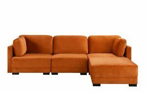 Details about Orange Upholstered Velvet Sectional Sofa, L-Shape Modern  Reversible Sectional...