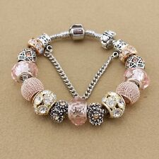 SILVER, ROSE GOLD PALE PINK European Charm Bracelet 18cm