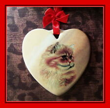 BEAUTIFUL MAINE COON CAT -  CERAMIC HEART ORNAMENT WITH RIBBON HANGER