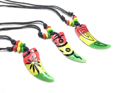 Tiger Tooth Charm Pendant Necklace African Rope Chain Rasta Reggae Colors New**