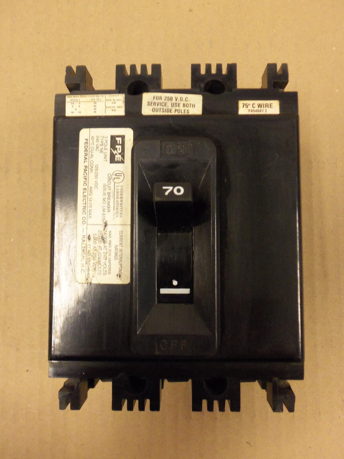 Federal Pacific Fpe Ne Ne233070 3 Pole 70 Amp 240v Circuit Breaker 200 Fuse Box Flawed Ebay