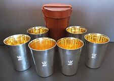 6 George V Sterling Silver Beakers Cups By Roberts & Belk In Leather Travel Case