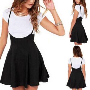 79c65ea7f0 UK Women Mini Suspender Skater Skirt High Waisted Pleated Adjustable ...