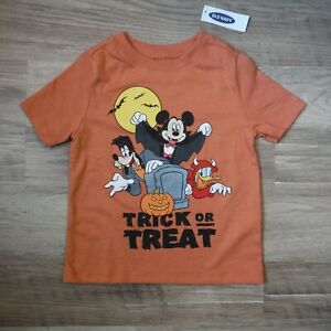 Old-Navy-orange-tee-shirt-Boys-girls-Size-2T-Mickey-Mouse-Halloween-New