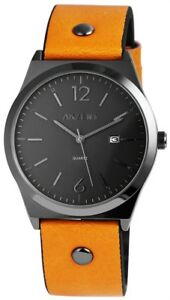 Akzent-Herrenuhr-Anthrazit-Orange-Analog-Datum-Kunst-Leder-Quarz-XSS7271600059